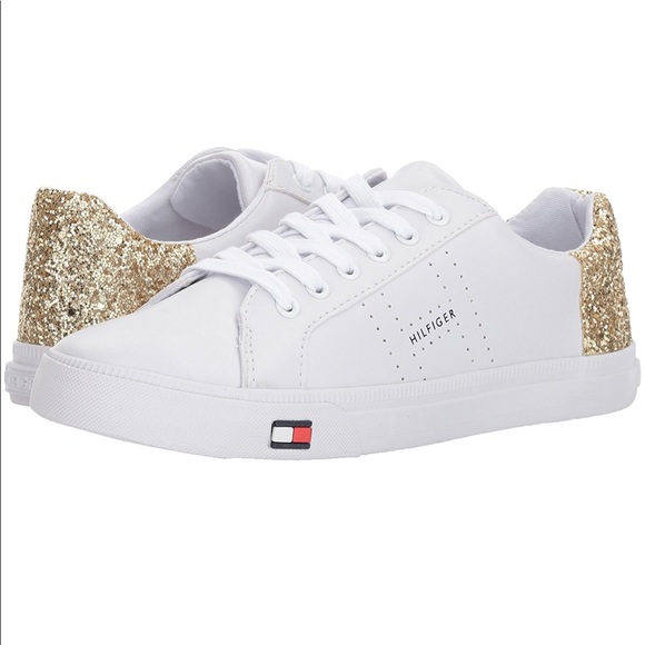 hot sale online 84f67 d1b17 Tommy HILFIGER LUNE white GOLD glitter Sneakers 10.  M 5a67ba81a4c485dd39537f63